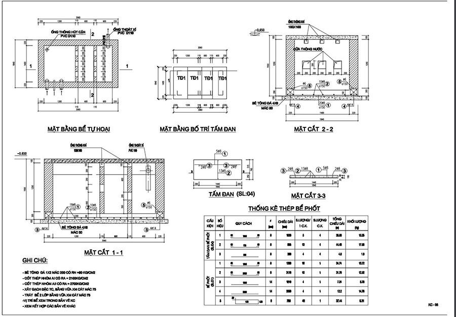 Sơ đồ bản vẽ bể tự hoại 2 ngăn chuẩn