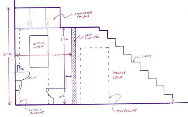 bản vẽ nhà vệ sinh dưới gầm cầu thang 2